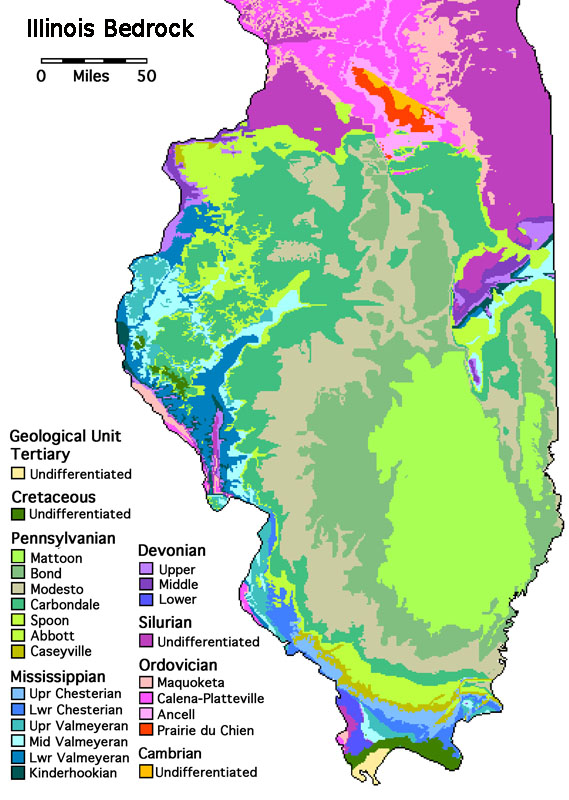 This Area Is Diverse Geologically Map Of Illinois Bedrock